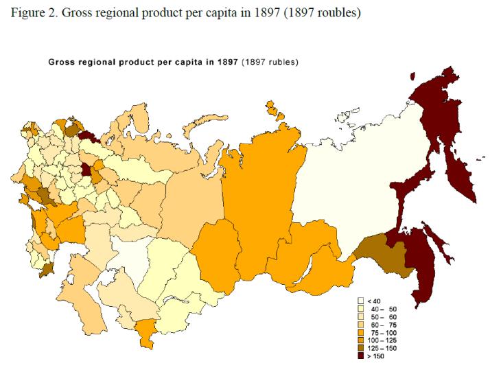 Russia regional per-capita GDP in 1897